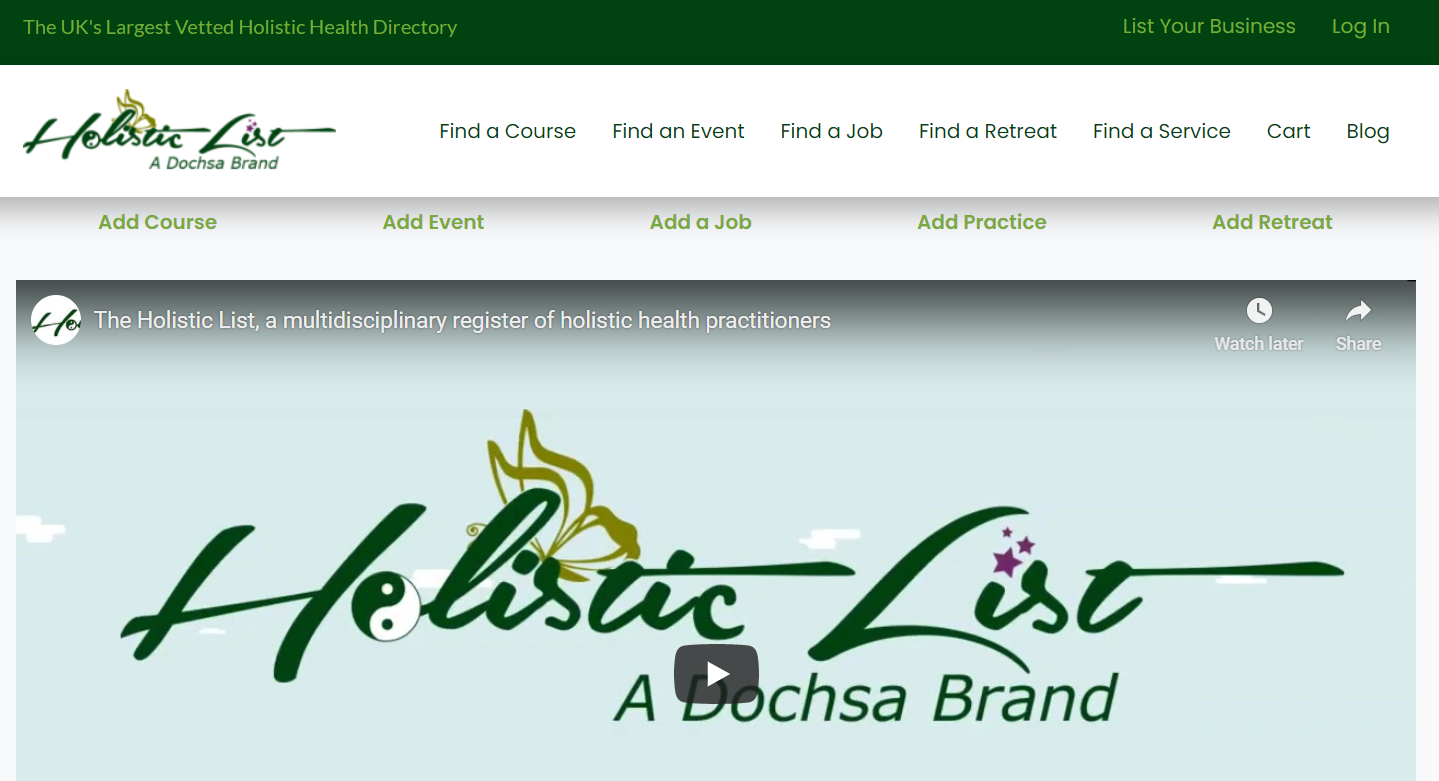 Holistic List - Practitioner registration page