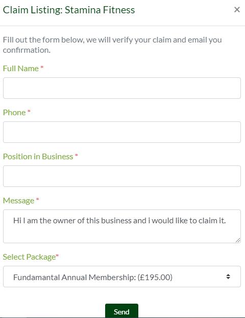 Claim listing form - Holistic List